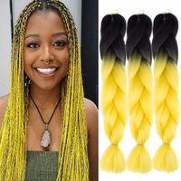 Ombre Farbe Synthetic Flechthaar 24 Zoll 100g / pack Jumbo Geflechte Kanekalon Xpression Flechthaar Crochet Geflechte Haare Alle Farbe vorrätig