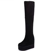 Moxxy Uyluk Yüksek Çizmeler Süet Platformu Kış Çizmeler Kadın Diz Üzerinde Takozlar Yüksek Topuklu Sıcak Kürk Ayakkabı Kadın Uzun