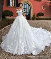 Modest principessa fuori dalla spalla del merletto una linea di abiti da sposa Appliques Corte dei treni Abiti da sposa abito da sposa taglie forti vestidos de Noiva