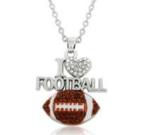 GX085 Kocham piłka nożna Kryształ Heart Emalia Wisiorek Naszyjnik Fani Sporty Biżuteria Nastolatki Dziewczyny Kobiety Prezent