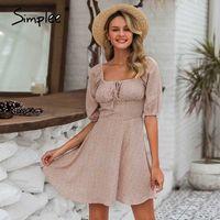 Vestidos casuais simple elegante colarinho quadrado verão chiffon praia mulheres vintage ruffles boho vestido robe femme vestidos