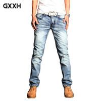 Jeans da uomo 2021 Brand Fashion Light Blue Blue Dimensional Taglio Auto-coltivazione Uomini Four Seasons Dritto 34 36