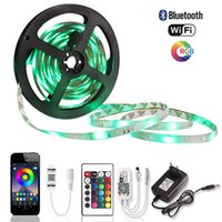 5M RGB LED Strip WiFi SMD 2835 impermeável fita LED fita flexível Luzes DC 12V 60 LEDs / m Car + Bluetooth Controlador + UE Adapter