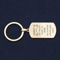Keychain Hand Stamped Sweet 16 Все дороги ведут к дому Независимо от того, где вы бродите Вдохновение Sweet 16 Gift Charm Key Ring