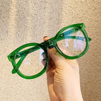 2020 جديد النظارات البصرية المتضخم عين القط النظارات الإطار جولة رايس أزياء المرأة شفاف الإطار الأخضر ييويرس