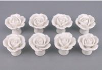 8pcs / Set Cerâmica Forma Rosas Flower Maçanetas Armários lidar com cor Branco Armário da gaveta Handle Pull