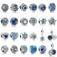 925 Sterling Silver Blue CZ Charms Multi Style Heart Snowfla...