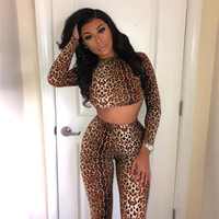 Moda Donna Leopard Skinny set abbinabile a manica lunga sportivi Workout 2 Pezzo allestimento Active Wear Crop top e pantaloni set