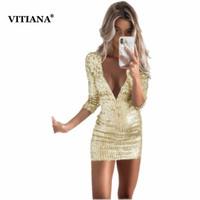 VITIANA Kadınlar Kısa Seksi Parti Pullu Elbise Kadın 2018 Yaz Derin V Yaka Katı Altın Siyah Kulübü Wear BODYCON Mini Elbiseler Satış