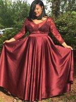 Deep Red Plus Size Abendkleider SpitzeAppliques Illusion langen Ärmeln Chiffon Rückseite Reißverschluss Jewel Sheer Neck Frauen Partei-Kleid-Mutterkleid