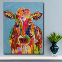 1 pezzo Colorful mucca pittura di arte della parete olio animale Per Pittura Living Room Decor Olio su tela di canapa pittura a parete No Frame