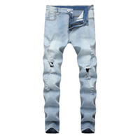 Slim Fit Jeans Masculino 2019 Neue Mode Modis High Street Retro Jens Herren Washed Old Denim Herren Knieloch Celana Jeans Pria