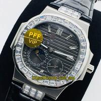 PFF V2 Yükseltme Sürümü Spor 5724G-001 Ay Faz Güç Koşulları Gri Arama Otomatik 5712 Mens İzle Diamond 904L Çelik Eternity Saatler