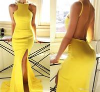 Elegante, sexy, amarillo, dividida, vestidos de noche, espalda abierta, cuello halter hasta el suelo, vestido de dama de honor, vestidos de fiesta, vestidos de novia