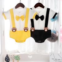 Ins Baby Strampler Mädchen Jungen Cartoon Bär Fuß Gedruckt Schmetterling Bogen Kurzarm 100% Baumwolle Jumpsuits Sommer Säugling Kleinkind Baby Kleidung