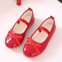 Black Red Children Shoes Girls Shoes Princess Fashion Bowtie...