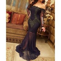 2019 New Arabia Sexy Evening Dresses V Neck Off Shoulder Lon...