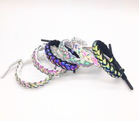 Adjustable Shoelace Braided Bracelets Reflective Rainbow Rop...