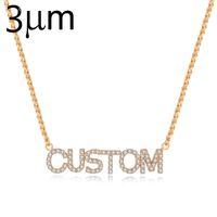 3umeter cristal completo personalizado nome colar com zircão pedra j190713