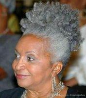 Intellectual Femmes cheveux gris topper extension argent gris afro feuilletée crépus bouclés cordon de serrage queue de cheval cheveux humains clip en vrais cheveux 1 pièce