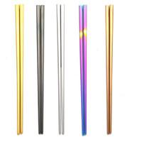 Aço Inoxidável 304 Chopsticks vácuo chapeamento colorido Praça Chopsticks Boa Qualidade ouro do arco-íris preto Chopsticks Atacado