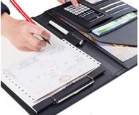 A4-Manager Ordner Multifunktions-Leder-Office-Ordner Enthält 12-Bit-Rechner Zwischenablage Geschäftsorganisator