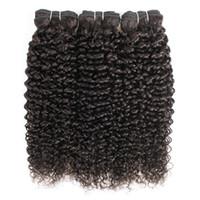 Doğal Renk 3 Paketler Jerry Kıvırcık İnsan Saç Uzantıları Afro Tarzı Brezilyalı Perulu Malezya Hint Remy Atkı