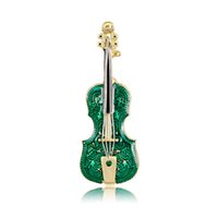 New Design Enamel Violin Brooch Pins Green Fiddle Brooches F...