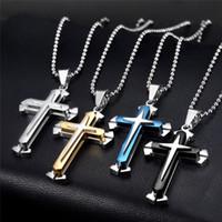Горячие продажи цепь из нержавеющей стали 3 слоя Knight Cross Silver Gold Black Color Mens ожерелье подвеска украшенные подарки