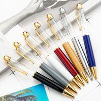 14 لون الإبداعية DIY الكبير أنبوب فارغ أقلام حبر جاف المعدنية القلم الذاتي ملء العائمة بريق الزهور المجففة كريستال القلم الطلابية الكتابة هدية