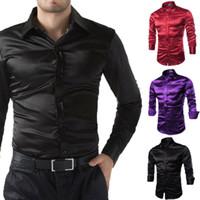 2119 새로운 스타일 패션 핫 남성 실크 드레스 셔츠 솔리드 긴 소매 캐주얼 공식 버튼 실크 셔츠