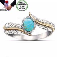 OMHXZJ Großhandel Europäische Mode Frau Mann Party Hochzeitsgeschenk Leder Türkis 925 Sterling Silber 18KT Gelbgold Ring RR404