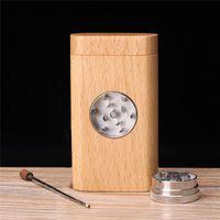 En bois naturel Pirogue avec un tube Cigarette Herb tabac Portable Boîte de rangement en bois Grinder Porte-fumeurs Accessoires CCA12246 10pcs