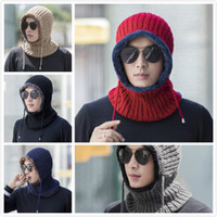 Winter Hat Scarf Set Earmuffs Knitted Hat With Mask Hood Bea...