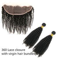 Paquetes de cabello virgen de la India con encaje frontal 13X4 frontales suizos Línea de pelo natural ondulado rizado Trama de tejido de cabello humano sin procesar