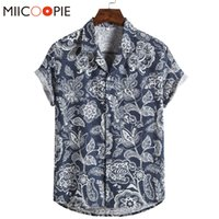Summer Tops For Men Casual Floral Printing Short Sleeved Loo...
