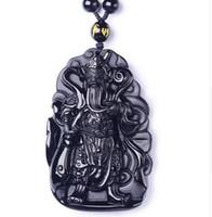 Belo trabalho artesanal Chinês preto Natural obsidiana esculpida única GuanGong sorte pingente amuleto + colar de pérolas de moda jóias