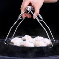 Plaque vaisselle pliable en acier inoxydable bol clip Tong Plaque chauffante Gripper Vaisselle Porte-Clamp Pinces Outils de cuisine JK2003