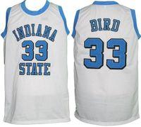 Индиана государственный светлый колледж Ларри птица # 33 Белый ретро баскетбол Джерси мужская сшитая пользовательское название Имя майки