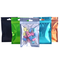 100pcs various sizes transluent and color package zip lock package bag with hanger hole plastic mylar clear on front color pouch bag