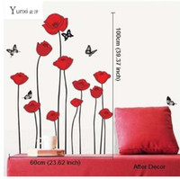 YunXi RED POPPY Stickers murali smontabili Home Decor Art Flower Adesivi murale in vinile 60 * 100cm