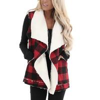 delle donne senza maniche risvolto maniche Womens Vest Plaid anteriore aperto Tasche inverno delle donne cappotto casuale chalecos Outerwear para mujer