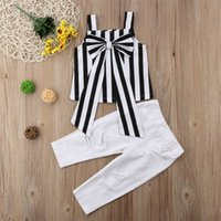 Girls suit summer striped sling top + hole pants two sets of...