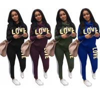 Carta de amor Imprimir Chándales Conjunto de 2 piezas Montones Cuello con capucha Pantalones deportivos Camisa suéter Pantalones Trajes de niñas Ropa deportiva Oferta casual