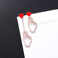 Cute Red Love Heart Asymmetric Metal Hollow Finger Women Gir...