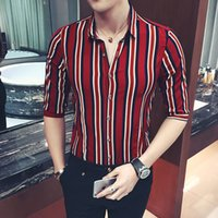 Hot Sale New Men' s Fashion Casual Striped Print Shirt S...