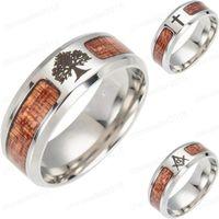 Nuevos Anillos de madera de acero inoxidable Árbol de la vida Cruz masónica Anillos de dedo de banda de madera para hombres Para mujer Joyería de moda Regalo a granel