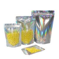 Ologrammi di plastica di colore del laser di trasporto 100pcs basamento del sacchetto il sacchetto foglio di borse borsa con cerniera argento olografico