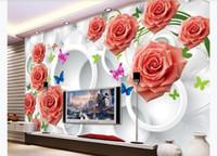 사용자 정의 3d 벽화 벽지 사진 벽 종이 우아한 장미 원 우아한 소프트 팩 3D 거실 TV 배경 벽화 벽지 벽