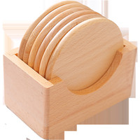 6PCS / مجموعة خشبي الوقايات مجموعة حامل جولة الزان كأس الخشب مات السلطانية الوسادة لصنع الشاي كأس ماتس عشاء كأس المفارش أدوات المطبخ الرئيسية DBC VT1151